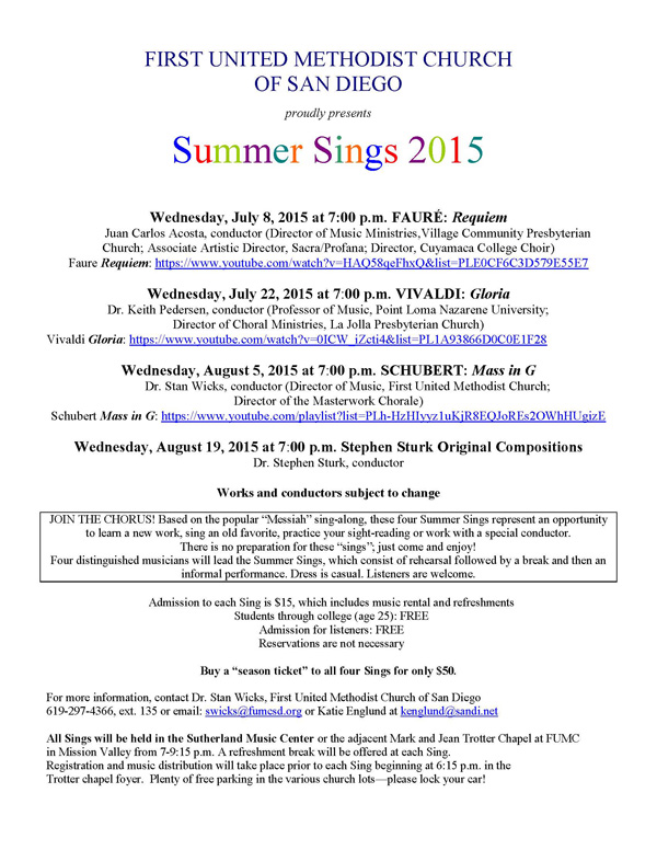 Stephen Sturk Summer Sings 2015
